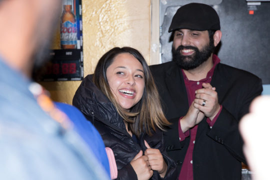 City Council candidate Crystal Murillo reacts as the crowd erupts for her likely victory during the Arapahoe County Dems watch party, Nov. 7 at El Tequileno.