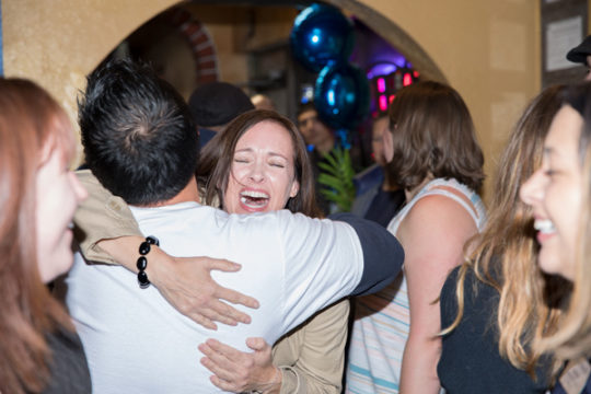 City Council candidate Nicole Johnston gets a hug from a supporter, after hearing of her likely victory, during the Arapahoe County Dems watch party, Nov. 7 at El Tequileno.Photo by Philip B. Poston/Aurora Sentinel