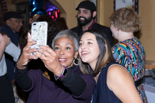 Rep. Janet Buckner, D-Aurora, left, takes a selfie with City Council candidate Crystal Murillo after hearing of Murillo's likely victory in Ward I, during the Arapahoe County Dems watch party, Nov. 7 at El Tequileno.Photo by Philip B. Poston/Aurora Senti