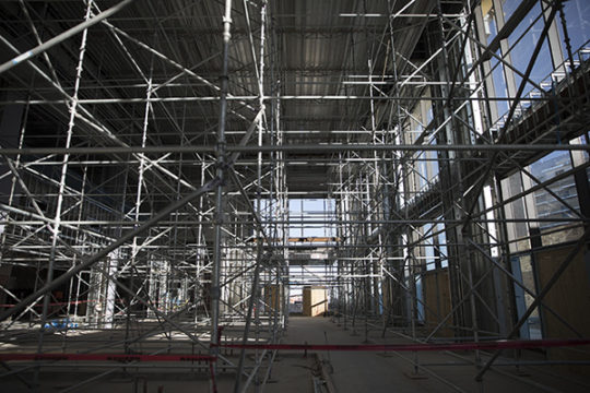Scaffolding in the entrance to the wing that holds the convention center. Photo by Philip B. Poston/Aurora Sentinel