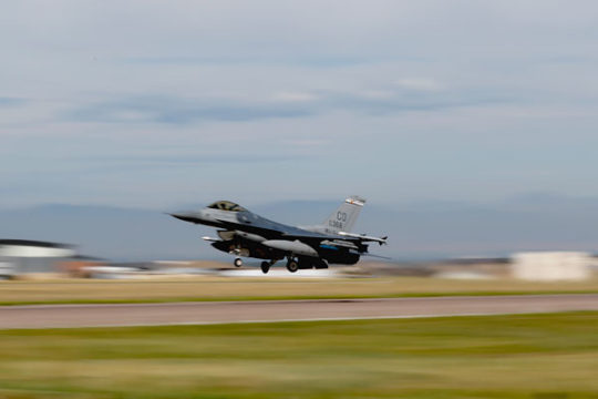 An F-16 takes off from Buckley Air Force to take place in flight exercises, Aug. 15. US Rep. Mike Coffman is asking for $15.8 million to extend the buffer zone at Buckley, in order keep development a good distance away from the base. Photo by Philip B. P