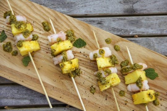 Food Healthy Shrimp and Pineapple Brochettes