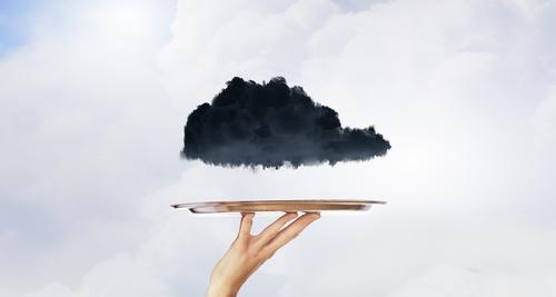 Black cloud on tray