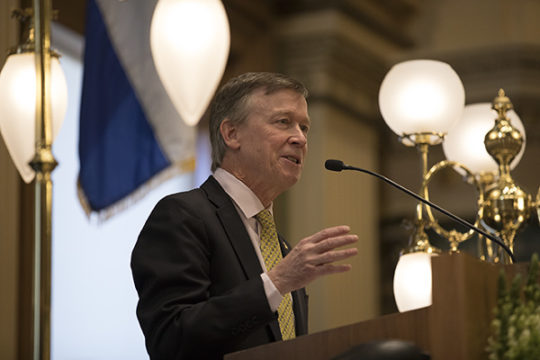 Gov. John Hickenlooper delivers his eighth, and last, State of the State address, Jan. 11 in the House Chambers of the Colorado State House. Photo by Philip B. Poston/Aurora Sentinel