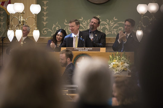 Gov. John Hickenlooper delivered his eighth and final State of the State address to a crowded House Chamber, Jan 11 at the Colorado State House.