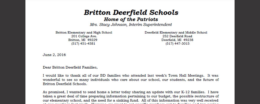 Follow-up Town Hall Letter