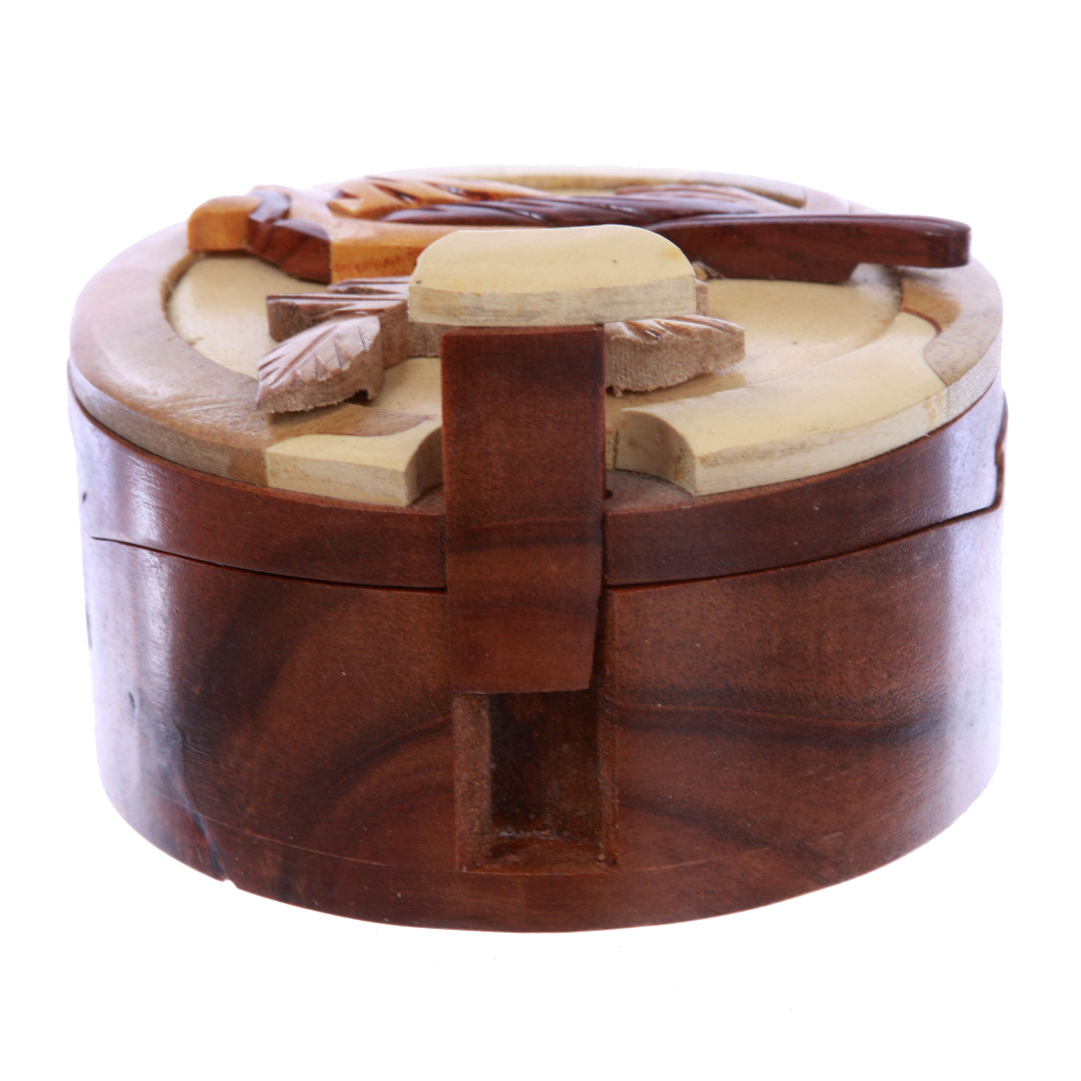 Lovely Bird Handcrafted Wooden Round Shape Secret Jewelry Puzzle Box
