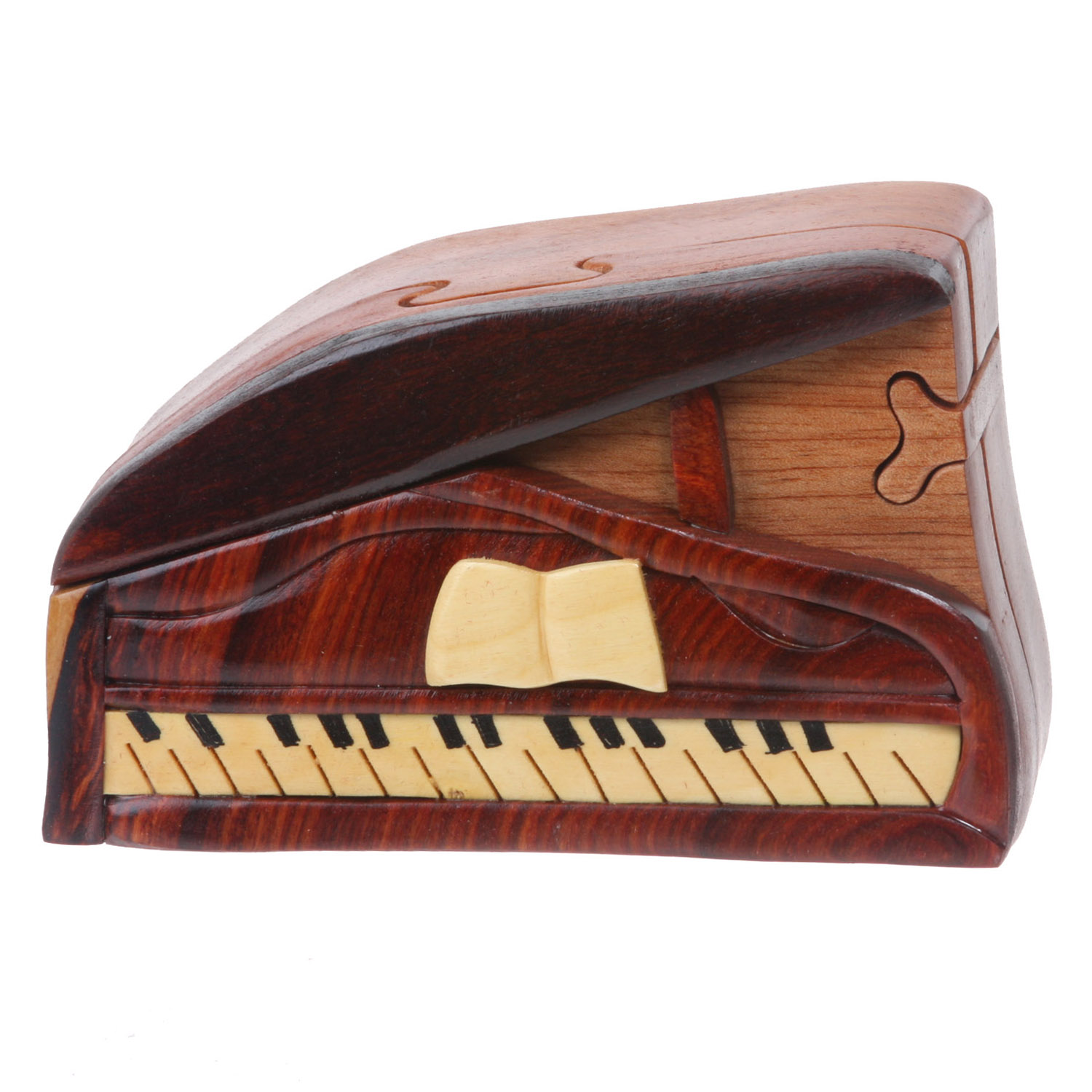 Handcrafted Wooden Musical Instrument Secret Jewelry Puzzle Box