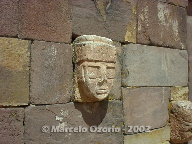 Tiwanaku carved head in the Underground Temple
