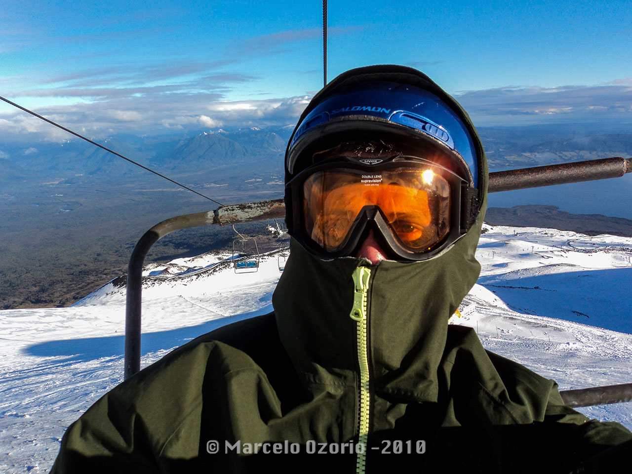 Marcelo Ozorio at first chair lift at Osorno Volcanoe Ski Resort
