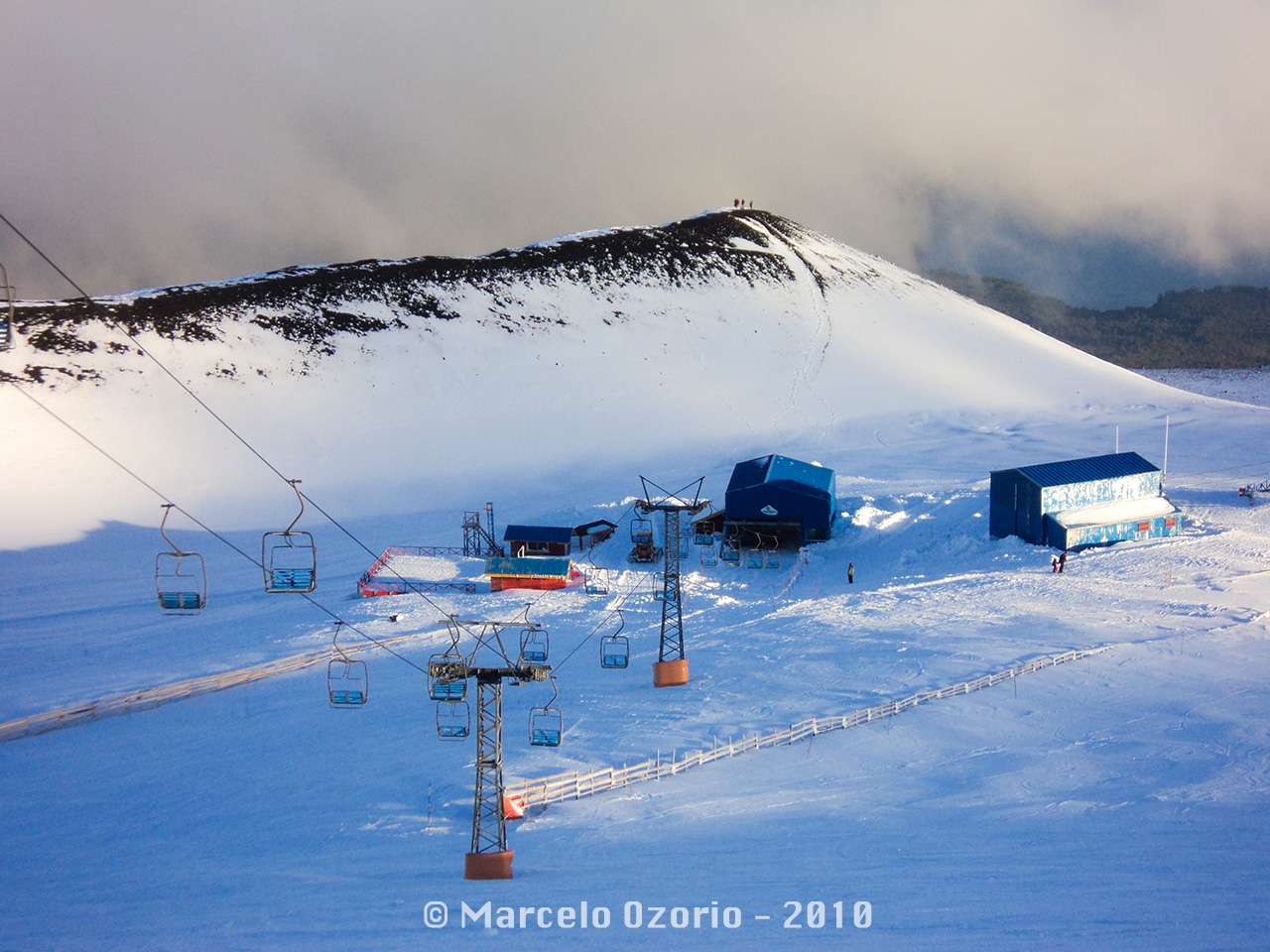 Beginning of a beautiful day in the Vulcan Osorno Ski Resort. 2010 Season, Patagonia, Chile.