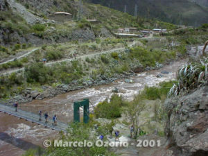 Crossing the first gate of the Vilcanota River