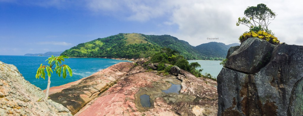 Ocean Squeezed Between Rocks and Plants - Ubatuba