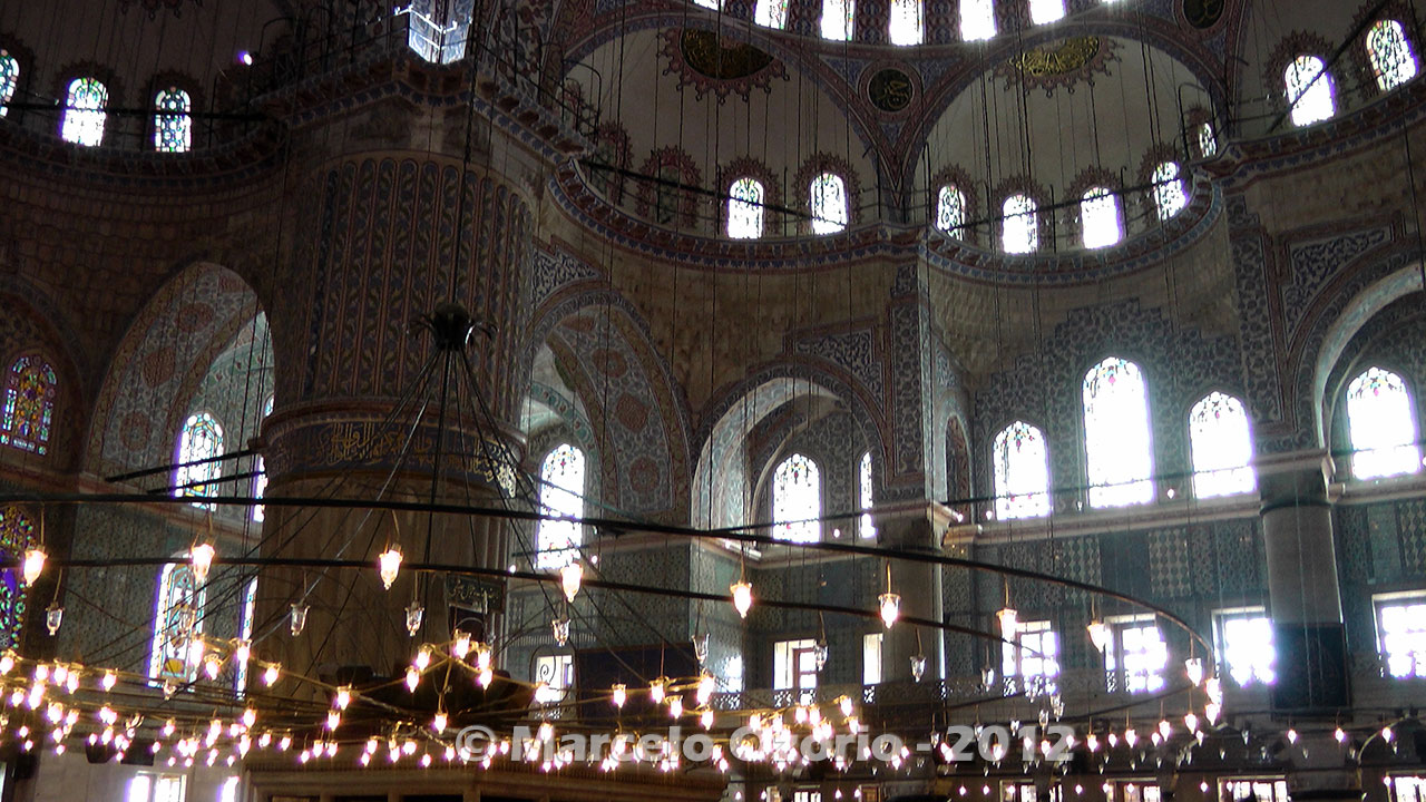 Interior of Sultan Ahmed Blue Mosque at Istanbul