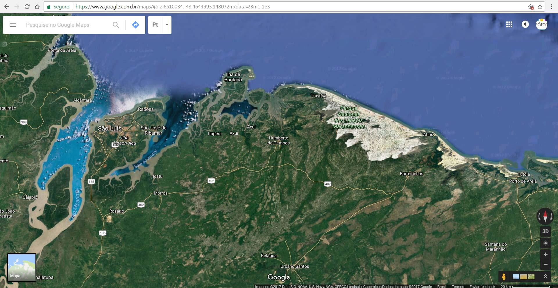 mapa 1 google maps - Mapas, Distâncias e Dicas. Trekking nos Lençóis Maranhenses - Brasil