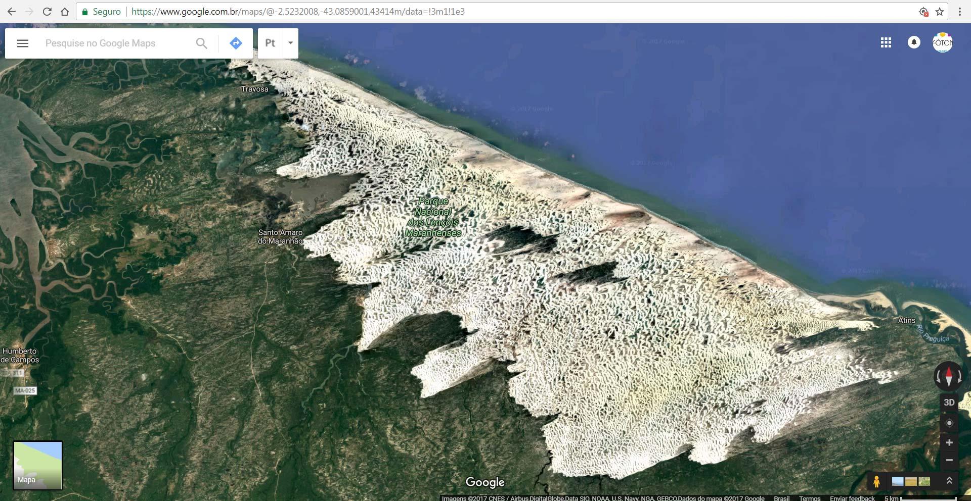 mapa 2 google maps - Mapas, Distâncias e Dicas. Trekking nos Lençóis Maranhenses - Brasil