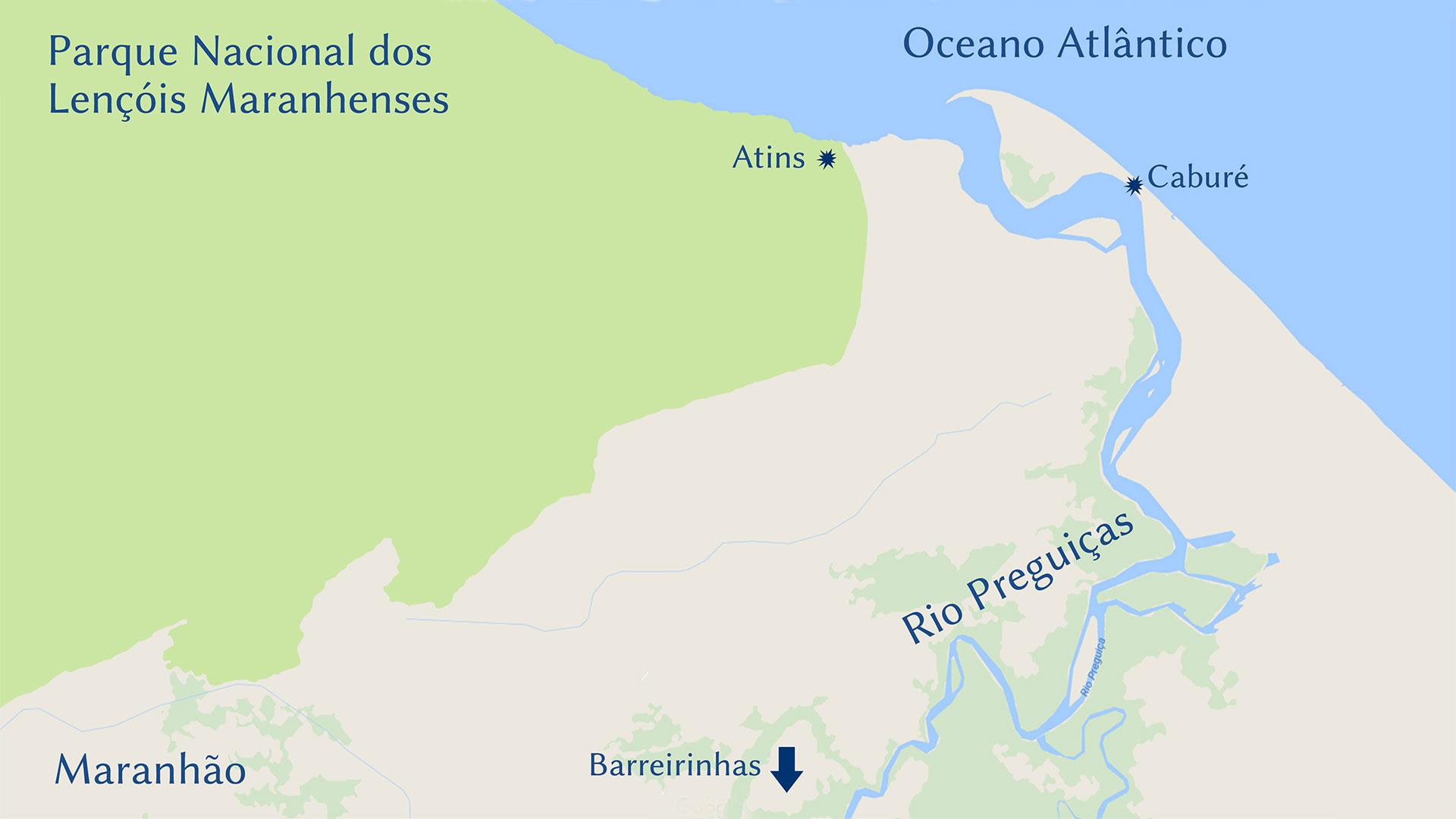 mapa cabur%C3%A9 - Mapas, Distâncias e Dicas. Trekking nos Lençóis Maranhenses - Brasil
