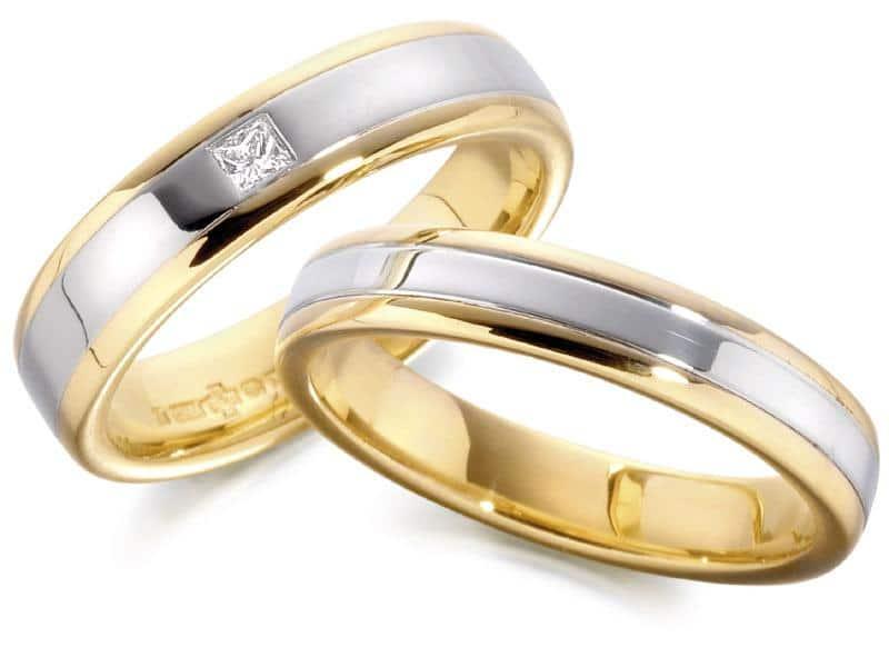 Alianças com ouro mesclado