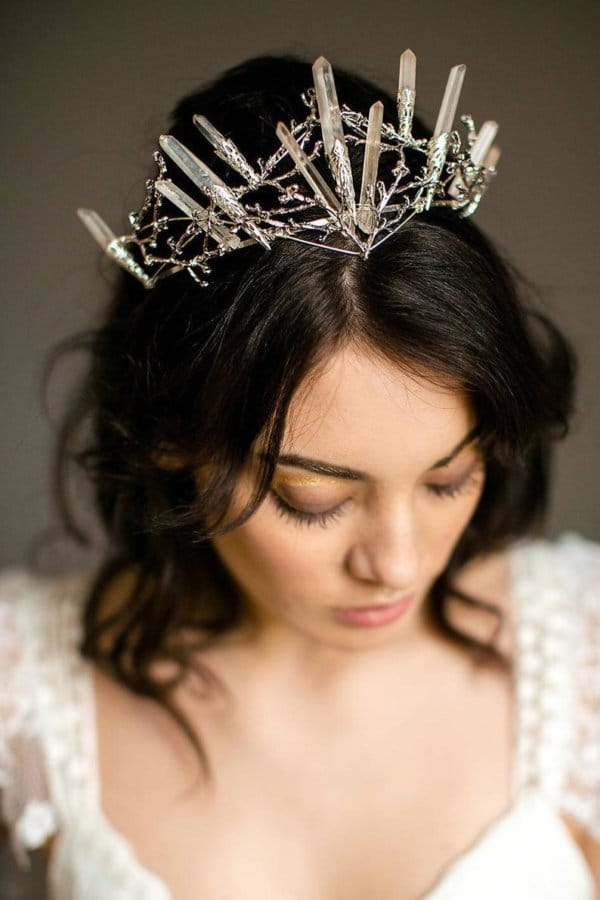 tiara de noiva alternativa de quartzo