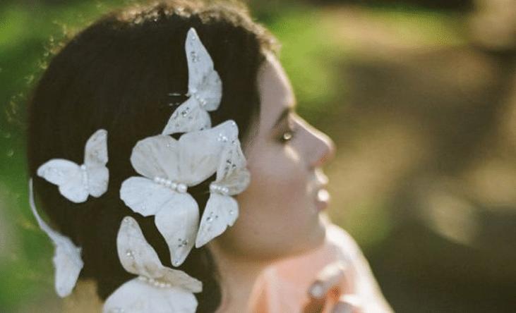 tiara de noiva alternativa de borboleta