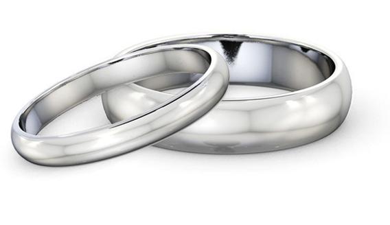 alianças de casamento em ouro branco