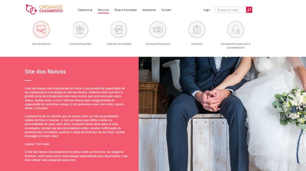 Site dos Noivos com a Organize Casamento