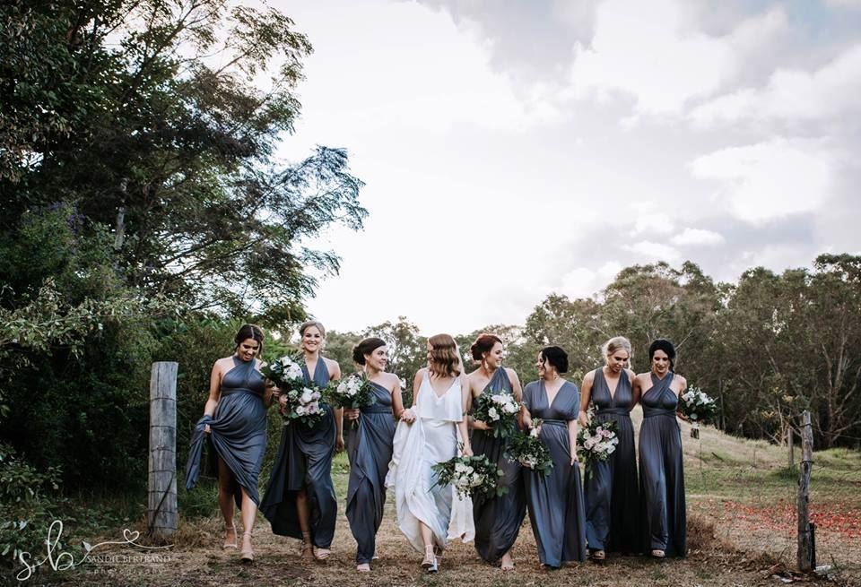 Vestidos de madrinha de casamento cinza escuro