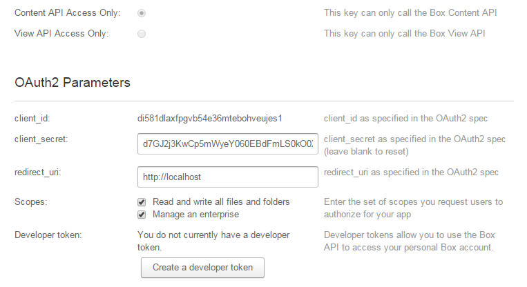 Setting OAuth2.0 parameters