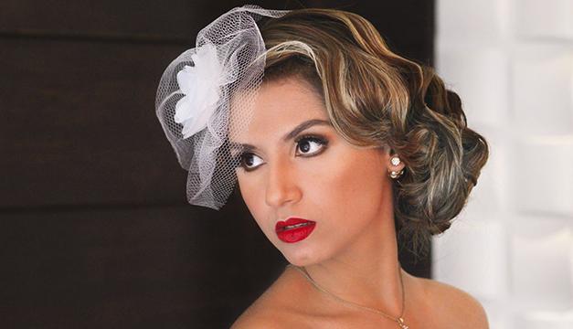 Maquillaje vintage velo de novia