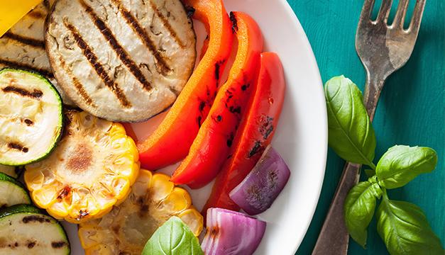 vegetales asados elote berenjena cena dieta