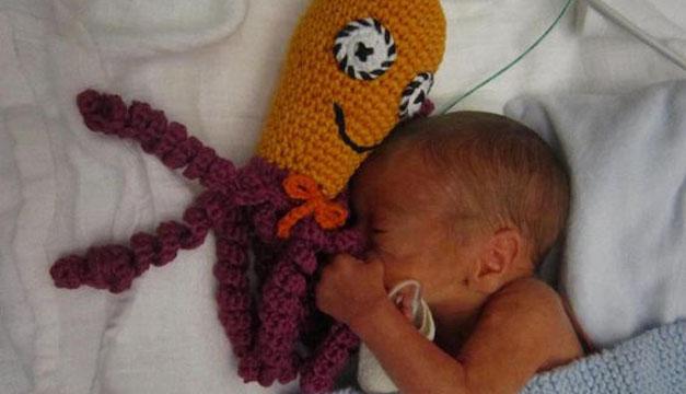 Pulpos de crochet recien nacido