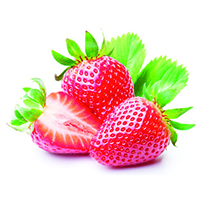 Strawberries with leaves. On a white background.