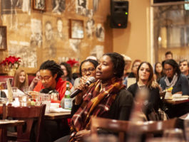 Audience asked questions and raised points for discussion at the Busboys and Poets New House Celebration event