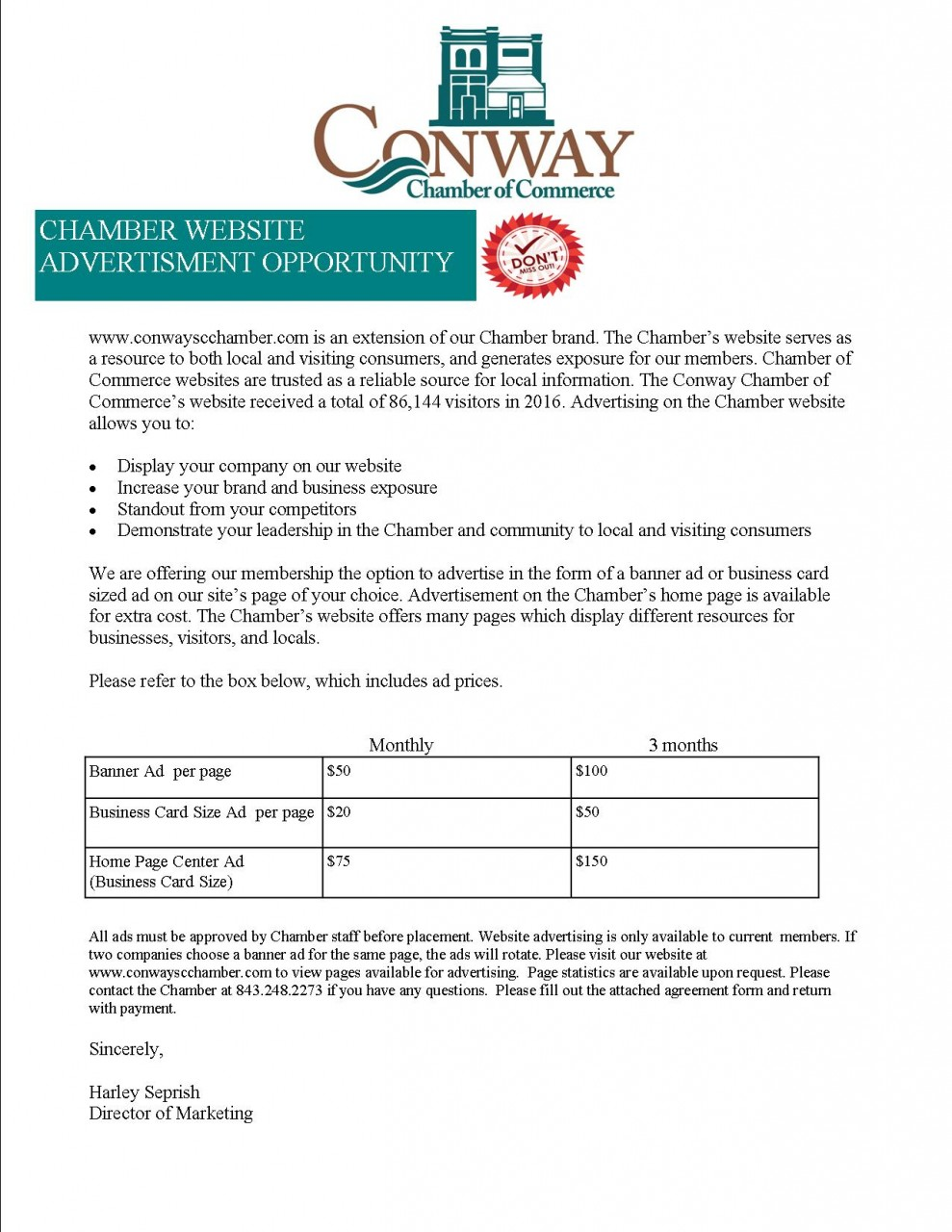 website advertisement opportunity for chamber members conway