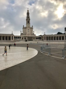 Fatima Cathedral with the Pope's speaking building pictured above.