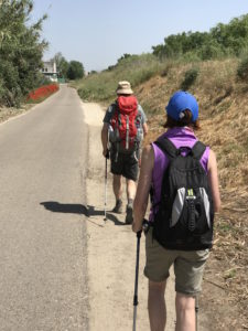 Geraldine and Roddy walking the Camino Portuguese.