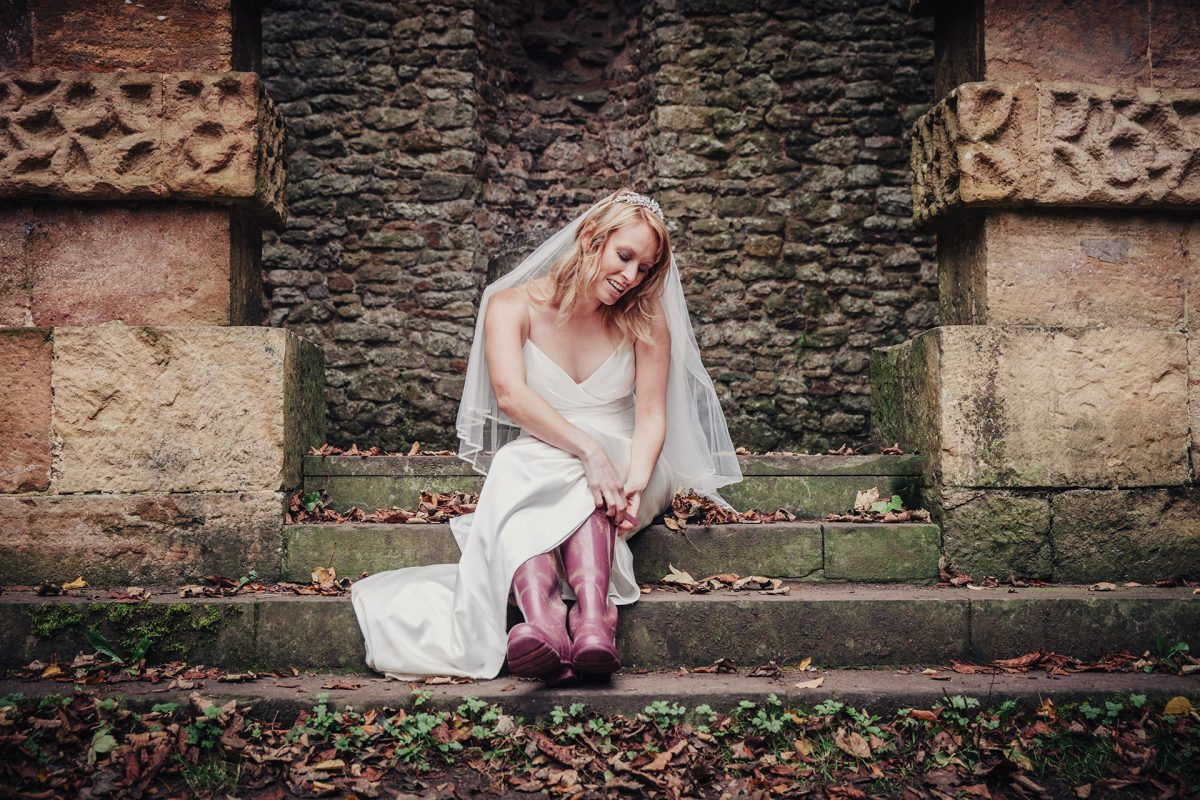 Wedding Photography_Kings Weston House Bristol_bride and wellies