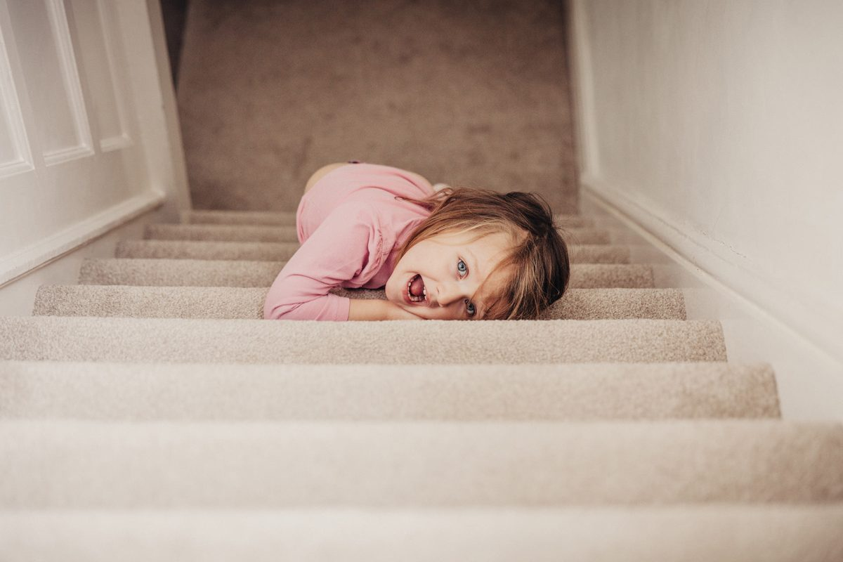 Kids Photography_Clifton_girl at home on stairs