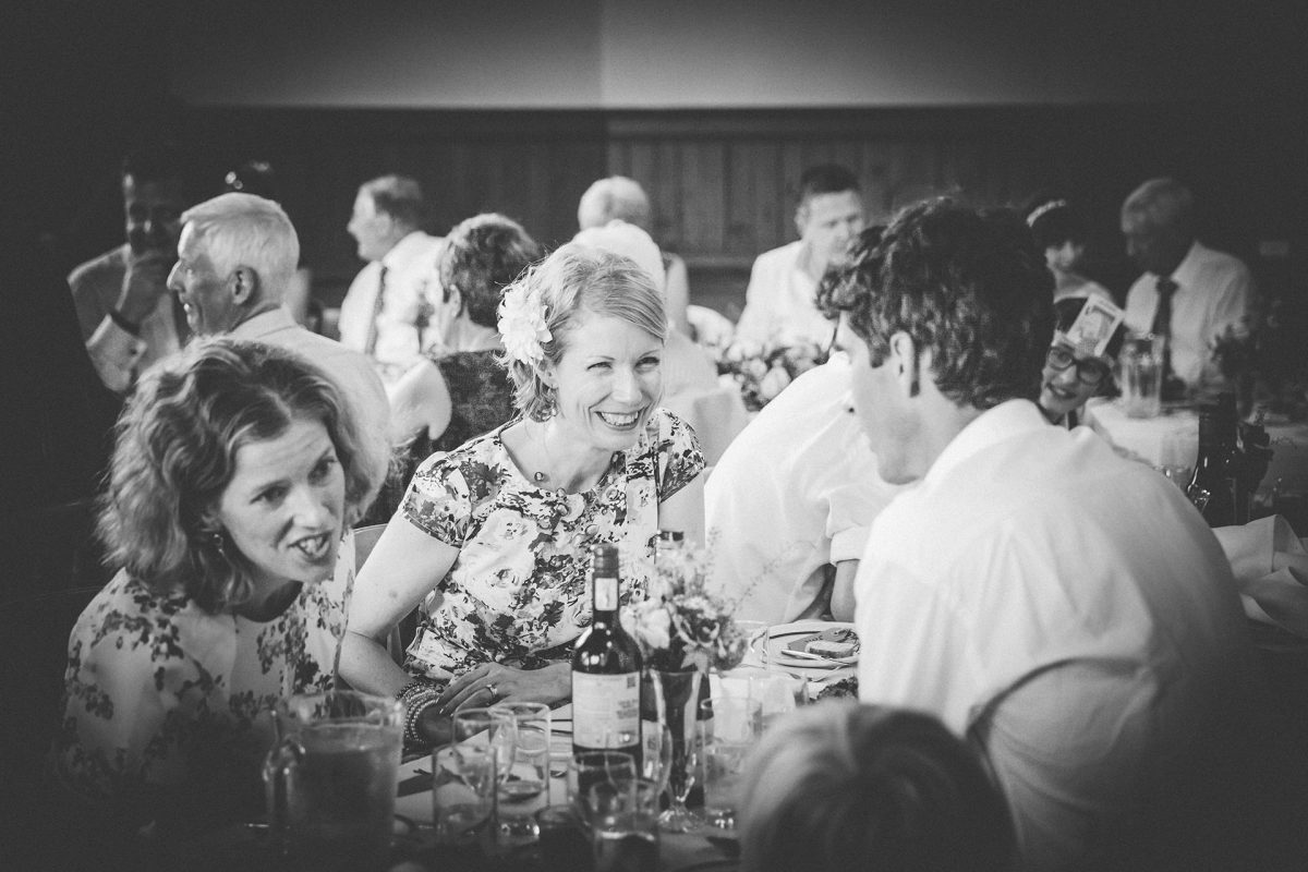 Wedding Photography_Westbury on Trym Village Hall_guests laughing