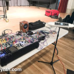 CatSynth setup at Touch the Gear, with Modular and Moog Theremini