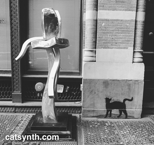 Metal Sculpture and Cat in SoHo