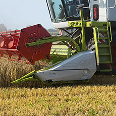 harvester mowing
