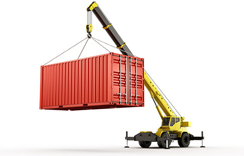 Mobile Crane with Container