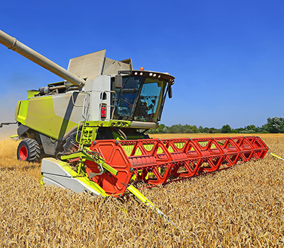 harvester on field