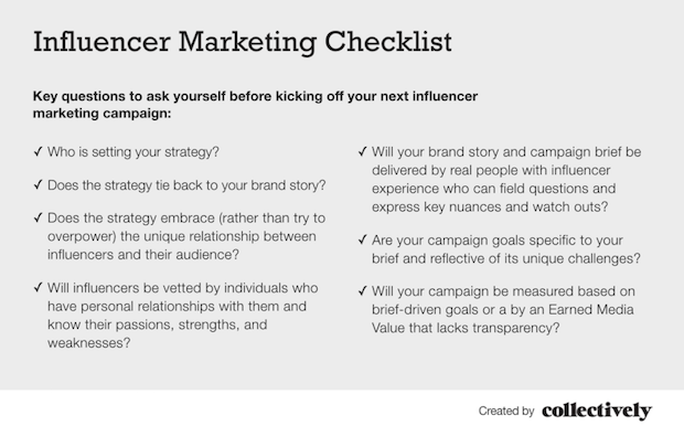 One Size Does Not Fit All Influencer Marketing Checklist