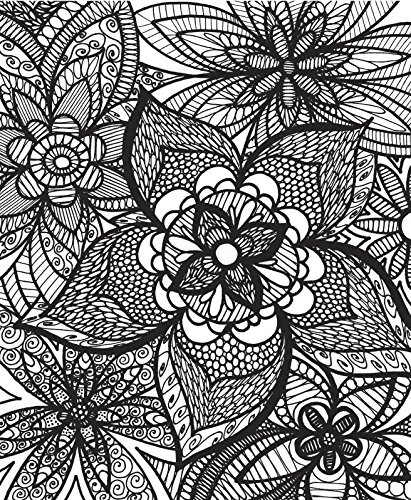 ColorIt Colorful Flowers Adult Coloring Book With Relaxing Zentangle And Patterns