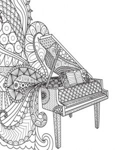 Grid Journal: Zentangle Piano Cover Diary Notebook: 8.5 x 11 size 130 pages, perfect for bullet journaling!