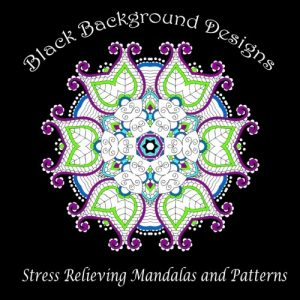 Black Background Designs: Stress Relieving Mandalas and Patterns (Adult Coloring Patterns) (Volume 35)
