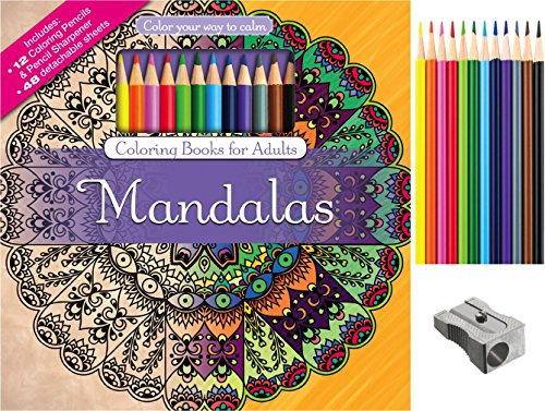 Mandalas Adult Coloring Book Set With Colored Pencils And Pencil ...