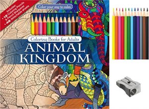 Animal Kingdom Adult Coloring Book Set With Colored Pencils And Pencil Sharpener Included: Color Your Way To Calm (Color with Music)